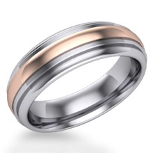 Deco Rounded Two Tone Wedding Band