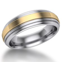 Deco Flat Two Tone Wedding Ring