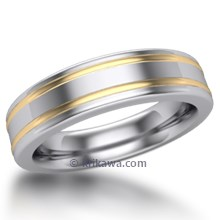 Double Striped Two Tone Wedding Ring