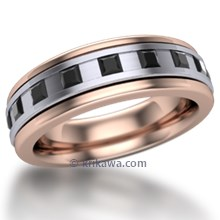 Space Square Mens Diamond Two Tone Wedding Ring