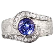 Mokume Pirouette Diamond Engagement Ring - top view
