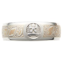 Etched Symbol Mokume Wedding Band - top view