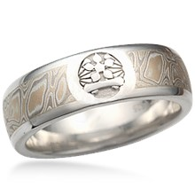 Etched Symbol Mokume Wedding Band