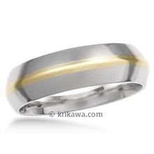 Two Tone Knife Edge Wedding Band