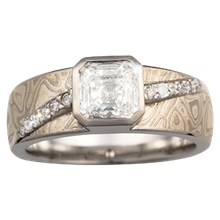 Mokume Diamond River Engagement Ring - top view