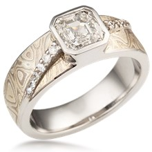 Mokume Diamond River Engagement Ring