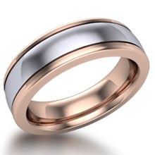 Grooved Two Tone Mens Wedding Band