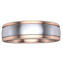 Grooved Two Tone Mens Wedding Band - top view