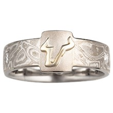 Raised Emblem Mokume Wedding Band - top view