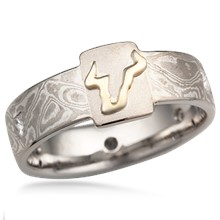 Raised Emblem Mokume Wedding Band