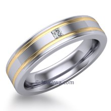 Striped Mens Wedding Band with Diamond