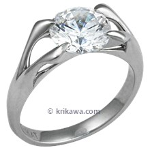 Carved Branch Engagement Ring with Round Diamond