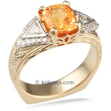 Decorative Wisdom Three Stone Engagement Ring