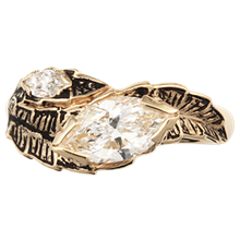 Large Leaf Engagement Ring - top view