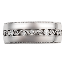 Wide Millegrained Curls Wedding Band - top view