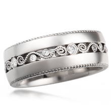 Wide Millegrained Curls Wedding Band