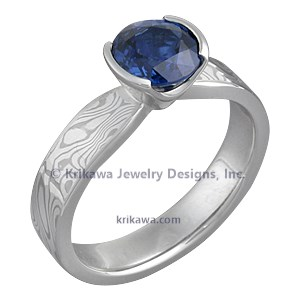 Mokume Solitaire Tapered Engagement Ring with Round Blue Sapphire