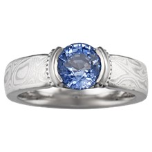 Mokume Millegrained Solitaire Engagement Ring - top view