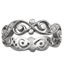 Infinity Leaf Diamond Wedding Band - top view