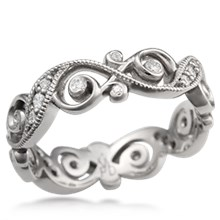 Infinity Leaf Diamond Wedding Band