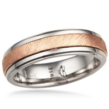 Textured Two Tone Wedding Band