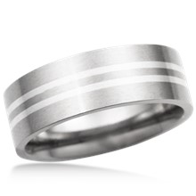 Double Stripe Two Tone Wedding Band