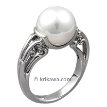 Carved Curls Engagement Ring with White Pearl