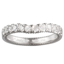 Vintage Deco Cathedral Wedding Band - top view