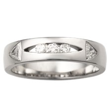 Men's Diamond Arrow Wedding Band - top view