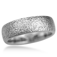 Heavy Texture Hammered Wedding Band