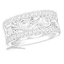 Carved Curls Pave Wedding Band