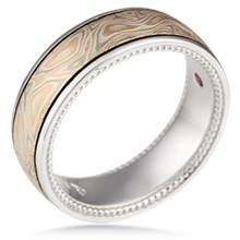 Millegrained Mokume Wedding Band