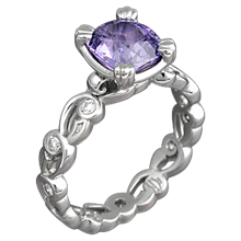 Delicate Leaf Engagement Ring with Purple Sapphire