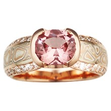 Mokume Diamond Silhouette Engagement Ring - top view