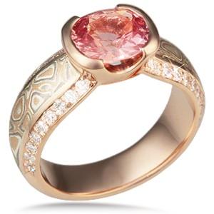 Mokume Diamond Silhouette Engagement Ring