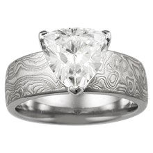 Mokume Trillion Solitaire Engagement Ring - top view