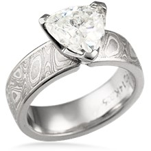 Mokume Trillion Solitaire Engagement Ring