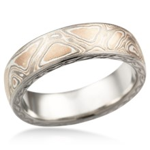 Hand Engraved Mokume Wedding Band