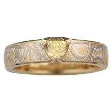 Baby Trillion Mokume Engagement Ring - top view