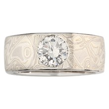 Mokume Straight Flush Engagement Ring - top view
