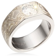 Mokume Straight Flush Engagement Ring