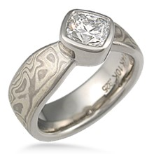 Mokume Solitaire Full Bezel Engagement Ring