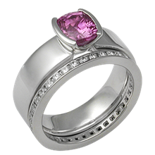 Modern Straight, Tapered Head Engagement Ring with a Pink Sapphire and Diamond Channel Band
