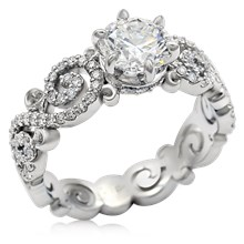 Carved Infinity Pave Engagement Ring