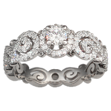 Carved Infinity Pave Engagement Ring - top view