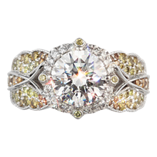 Butterfly Pave Halo Engagement Ring - top view