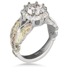 Butterfly Pave Halo Engagement Ring