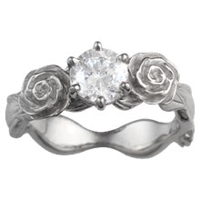 Flower & Ribbons Engagement Ring - top view