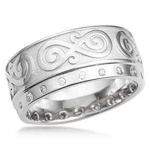 Contemporary Infinity Wedding Band with Diamonds