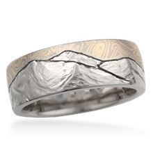 Mountain Mokume Wedding Band